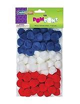 "Creativity Street Pom Pons 100-Piece x 1"" Patriotic colors"