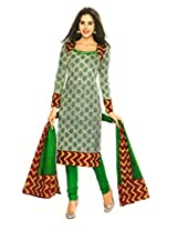 SGC Green Cotton Printed Unstitched Churidar Kameez - (SGS- 217)