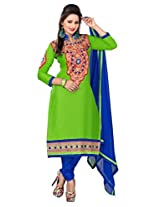Sonal Trendz Green Color Embroidery Semi-Stitched Suit.
