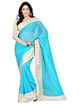 Saikrupatex Women's Chiffon Saree (Jay559, Blue)