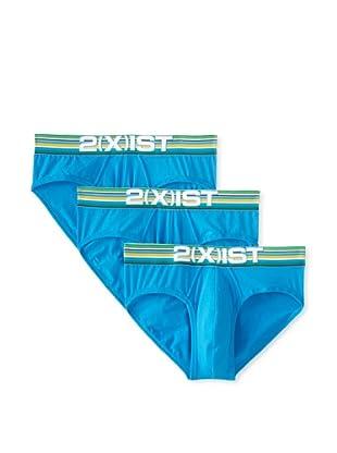 2(X)ist Men's Cabana No Show Briefs - 3 Pack (Cloisonne Blue)