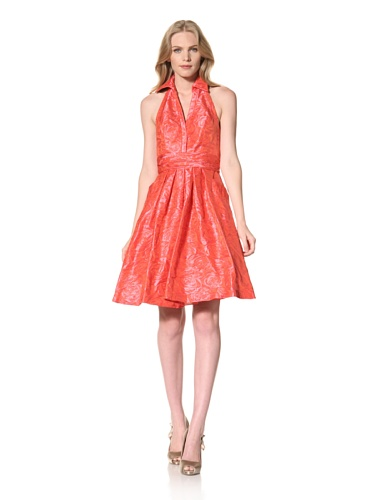 Theia Womens Taffeta Halter Party Dress (Passion Fruit)