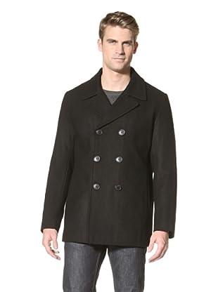 Calvin Klein Men's Double-Breasted Pea Coat (Black)