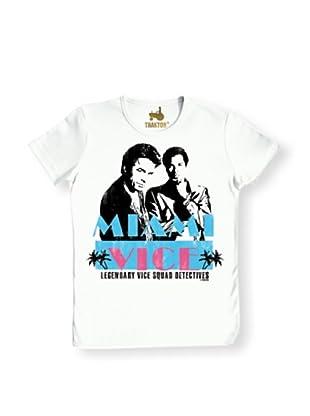 Logoshirt Camiseta Unisex Corrupción En Miami Camiseta Ajustada (Blanco)