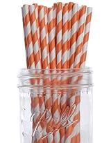 Dress My Cupcake Orange Striped Paper Straws, 100-Pack