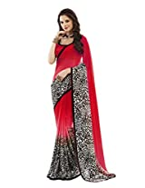 Shoppingover Red Color Saree in Georgette