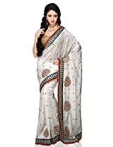 Utsav Fashion Women's White Art Silk Saree with Blouse