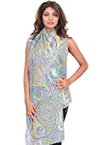 Exotic India Zephyr-Green Digital-Printed Stole with Large Paisleys - Green