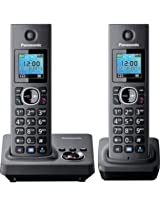 Panasonic KX TG7862GB duo DECT cordless telephone (3.7 cm (1.5 inches {customses}) TFT display) with answering machine black
