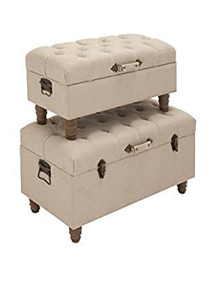 Set of 2 Fabric Trunks, Natural