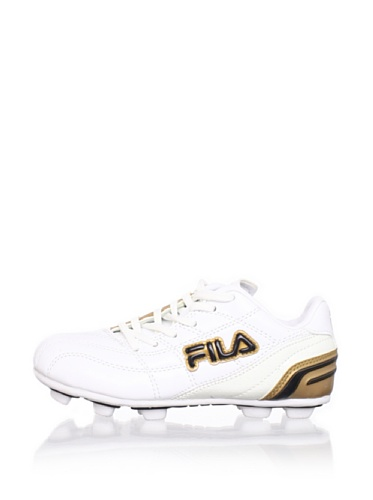 Fila Kid's Calcio II Rubber Blade Soccer Cleat (Toddler/Little Kid/Big Kid) (White/Metallic Gold/Black)