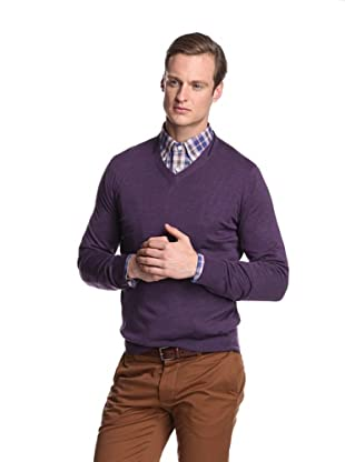 Façonnable Men's V-Neck Merino Sweater (Violet)