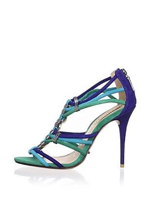 Schutz Women's Multi-Strap Nubuck Sandal (Acqua/Oceano/Bandeir)