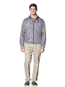 Perry Ellis Men's Plaid Windbreaker (Ink)
