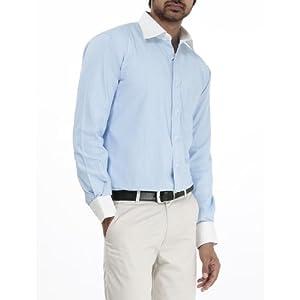 Formal plain blue 100 percent cotton shirt