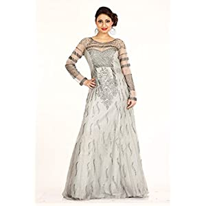 Bawree 30409 Net Evening Gown Grey
