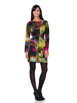 Peace & Love Vestido Estampado Abstracto (negro)