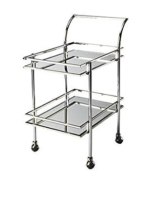 Butler Bar Cart, Chrome/Glass