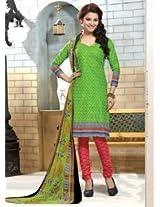 Saara Green Printed Dress Material - 144D4053