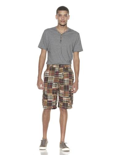 French Connection Men's Patchwork Souvenir Shorts (neutral multi)