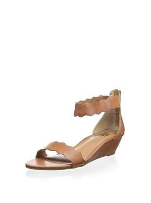 Ciao Bella Women's Wander Scalloped Demi Wedge Sandal (Luggage)