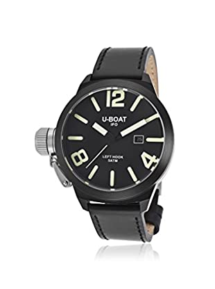 U-Boat Men's 7248 Black Genuine Leather Black Dial Watch