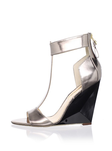 Boutique 9 Women's Linya Wedge Sandal (Pewter Leather)
