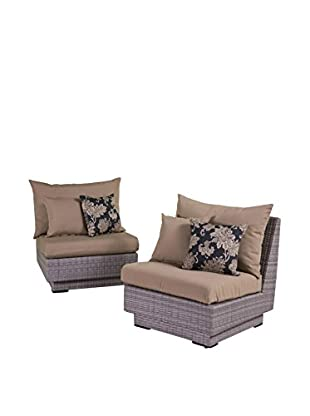 RST Brands Cannes Set of 2 Modular Armless Chairs, Beige