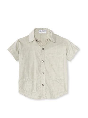 LA Lounge Boy's Safari Cotton Button Down Shirt (Safari Green)