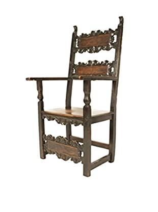 18th C. Walnut Renaissance Chair, Brown
