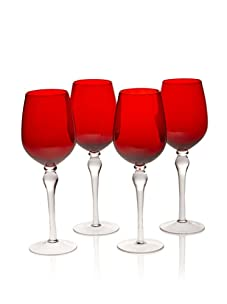 Rosanna Set of 4 Stemware Wine Glasses (Red)