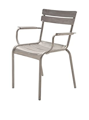 Industrial Chic Marcel Arm Chair, Brushed Aluminum