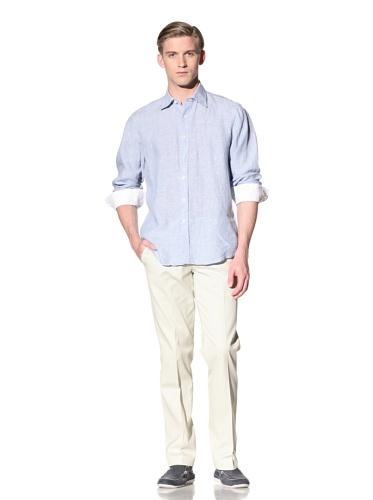 Report Collection Men's Linen Button-Front Shirt (Blue)
