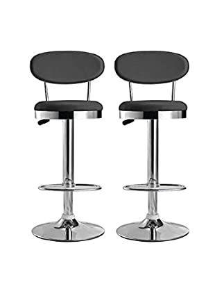 Manhattan Living Set of 2 Beer Bar Stools, Black