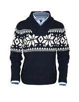 ililily Classic Fit Snowflake Pattern Knit Pullover Shawl Collar Winter Sweater (tshirts-070-1)