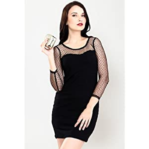 3/4Th Sleeve Mesh Solid Black Dress