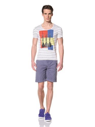 Antony Morato Men's Stripes and Darts Tee (Steel Grey)