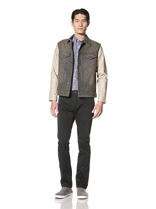 Just a Cheap Shirt Men's Denim Varsity Jacket (Grey)