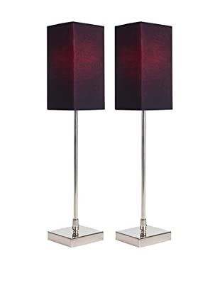 Filament Set of 2 Slim Square Table Lamps with Contrast Shade, Black/Fuchsia