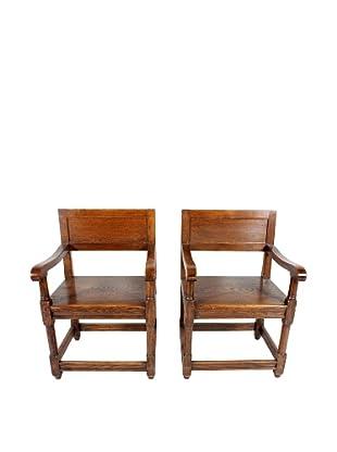Pair of Leuven Oak Armchairs, Brown