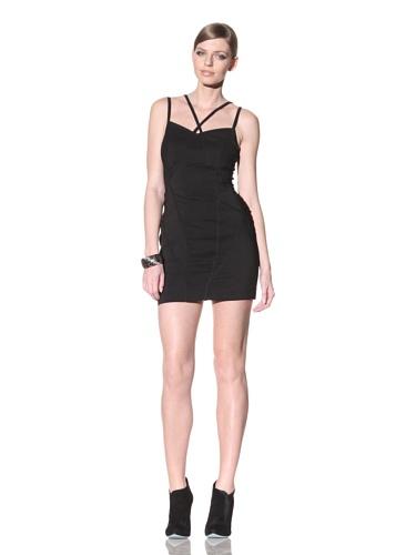 FACTORY by Erik Hart Women's Stretch Crepe Strappy Mini Dress (Onyx)