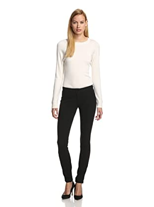 DEREK LAM Women's Stretch Seamed Slim Pant (Black)