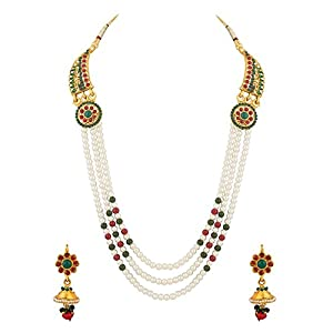 Voylla White Metal Multi-Strand Necklace With Earrings Set For Women