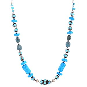 The Crazy Neck Blue Stone And Clay Beads Neck Piece Necklace
