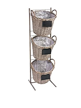 Skalny Metal Stand With Willow Baskets & Chalkboard Signs, Grey Wash