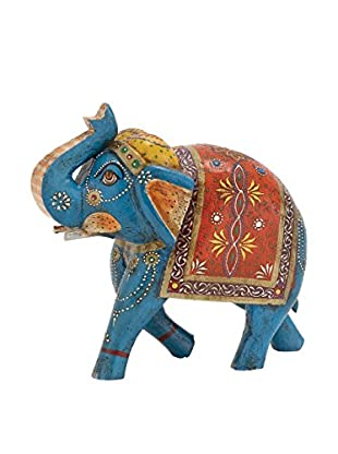 Wood Painted Elephant, Blue