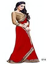 Janasya Jai Ho Red Chiffon Designer Saree For Women