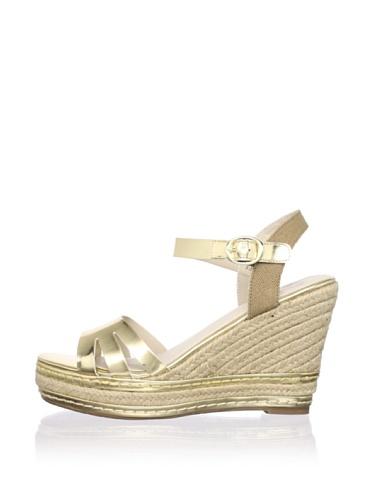Kelsi Dagger Women's Margo Espadrille Wedge Sandal (Gold/Cognac)