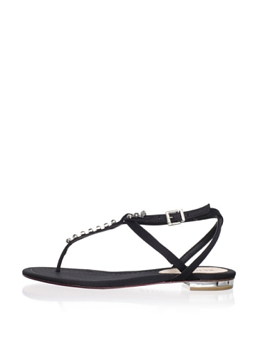 Schutz Women's Satin Thong Sandal with Jewels (Preto)