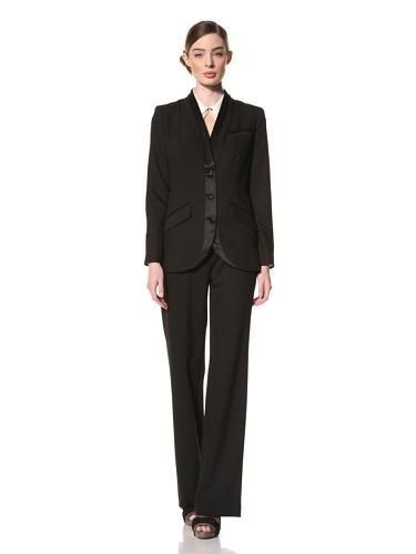 Magaschoni Women's Silk Trimmed Blazer (Black)
